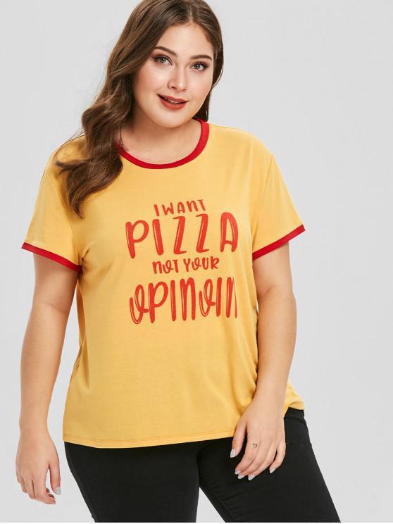 T-Shirt Plus Size Stampata A Lettere Con Bordi A Contrasto - Giallo 1X