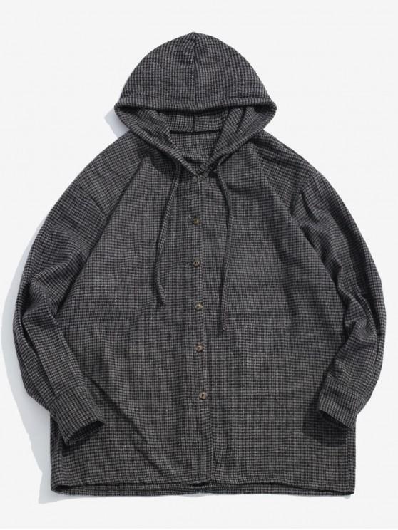 shop Hooded Long Sleeve Plaid Coat - GRAY L