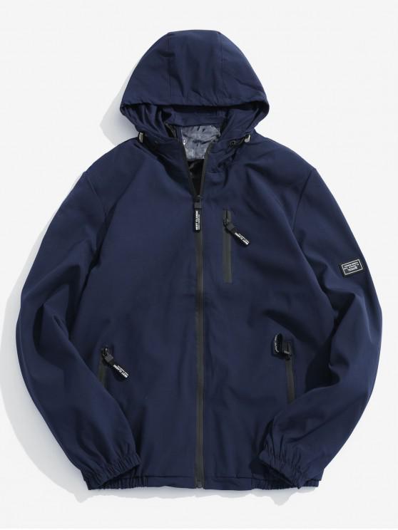 Applique Zip Up chaqueta con capucha - Cadetblue M