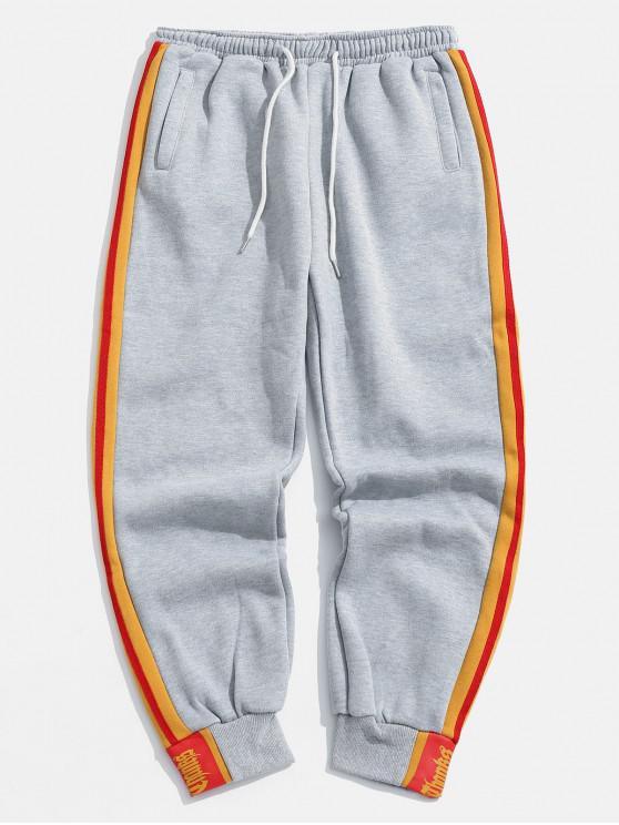 Pantalones de lazo con rayas laterales - Gris XS
