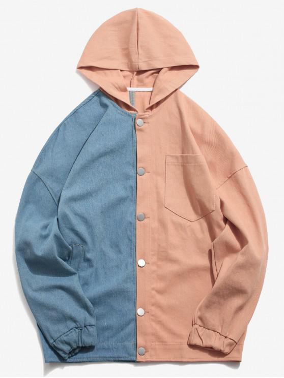 fancy Drop Shoulder Color Block Hoodie Jacket - PINK XL