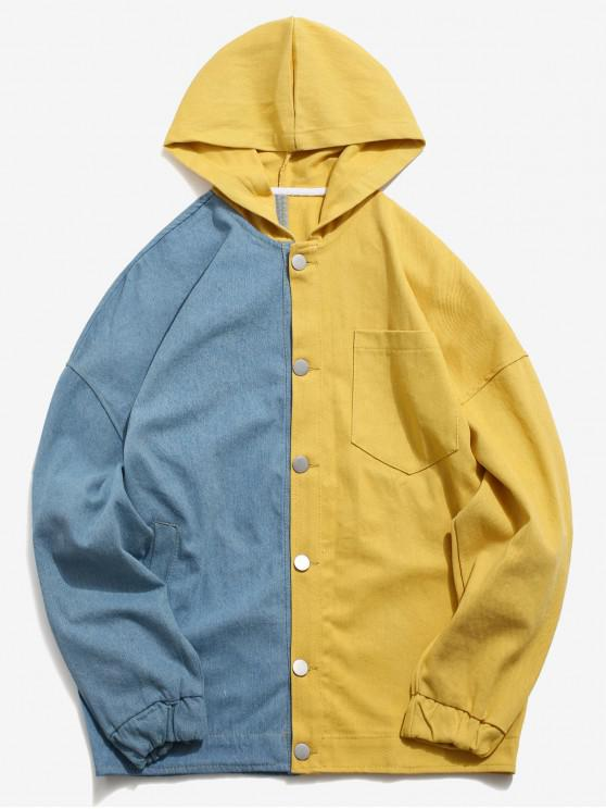 affordable Drop Shoulder Color Block Hoodie Jacket - YELLOW M