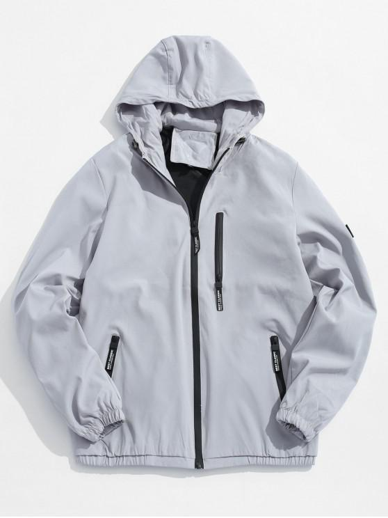 Applique Zip Up chaqueta con capucha - Gris XS