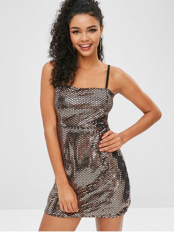 Vestido de fiesta de lentejuelas - Dorado Champagne M