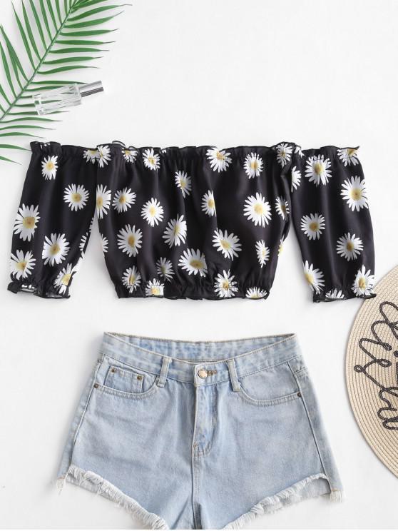 fashion ZAFUL Daisy Print Off The Shoulder Crop Top - BLACK M