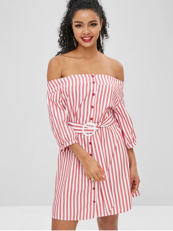 Button Up Stripes Off Shoulder Dress - الكرز الاحمر M