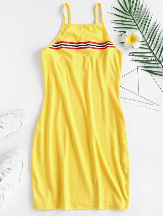 كامي سترايبس البسيطة اللباس - الأصفر S