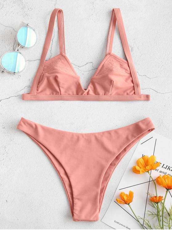 shop ZAFUL Bralette Low Waisted Bikini Set - ORANGE SALMON M