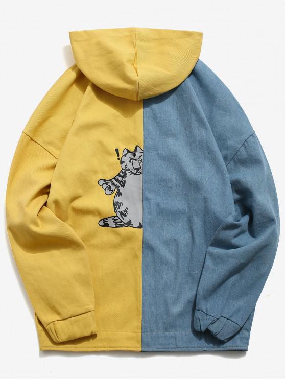 Chaqueta con capucha de bloque de color del hombro de la gota - Amarillo S