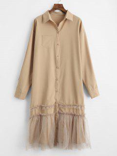 Pocket Voile Panel Shirt Dress - Camel Brown M