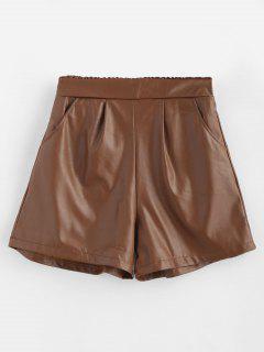 Bolsillos De Cuero De PU Pantalones Cortos De Talle Alto - Marrón Xl