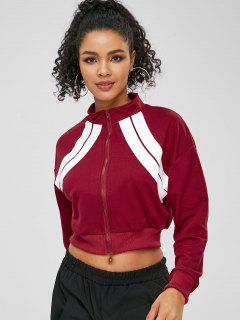 ZAFUL Zip Contrast Drop Shoulder Sweatshirt - Red Wine L