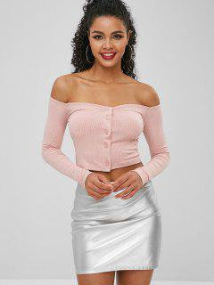 Buttoned Off The Shoulder Crop Top - Light Pink M
