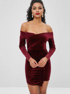 Off Shoulder Mini Velvet Dress - Firebrick