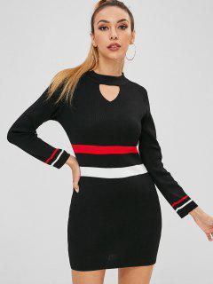 Tight Colorblock Mini Sweater Dress - Black