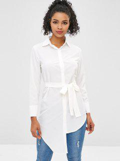 Longline Belted Asymmetrical Shirt - Milk White L