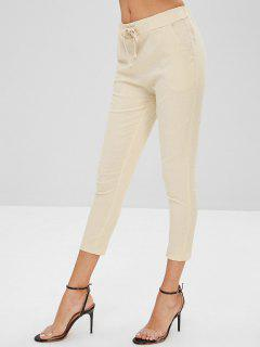 High Waisted Drawstring Straight Pants - Beige Xs