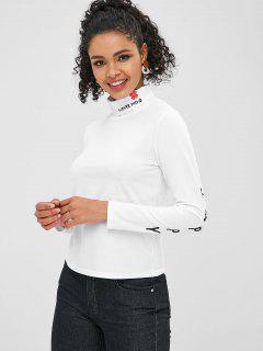Camiseta Con Cuello Redondo Y Estampado De Letras - Blanco L