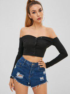 Buttoned Off The Shoulder Crop Top - Black M