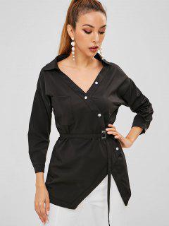 Pocket Belted Button Up Top - Black L