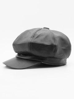 PU Leather Solid Color Painter Hat - Black
