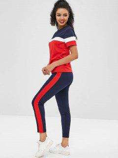 Short Sleeves Colorblock Tee With Striped Track Pants - Black S