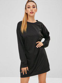 Drop Shoulder Sweatshirt Dress - Black L