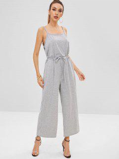 Waist Drawstring Wide Leg Jumpsuit - Light Gray M