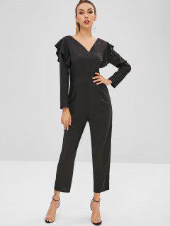 Ruffles Long Sleeve Jumpsuit - Black M