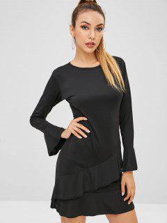 Ruffles Long Sleeve Dress - Black Xl