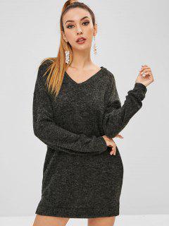 Drop Shoulder Jumper Dress - Carbon Gray S