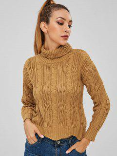 Cable Knit Turtleneck Crop Sweater - Bee Yellow