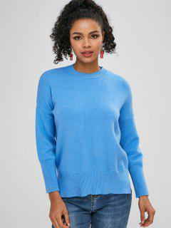 Side Slit Plain Loose Sweater - Dodger Blue