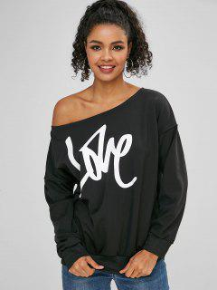 Love Graphic Fleece One Shoulder Sweatshirt - Black M