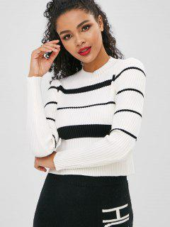 Striped Ribbed Long Sleeves Knitwear - White