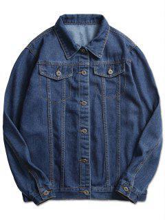 Stitch Casual Denim Jacket - Denim Dark Blue Xs