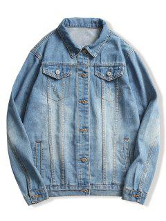 Veste En Jean à Boutons Délavés - Bleu Bébé Xs