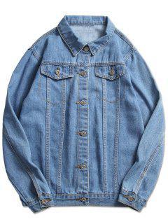 Stitch Casual Denim Jacket - Light Blue S