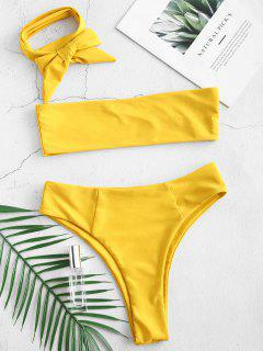 Multiway High Leg Bralette Bikini Set - Golden Brown M