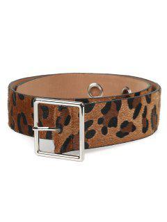 Metal Pin Buckle Leopard Wide Belt - Leopard