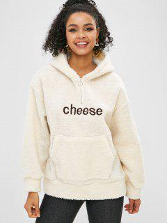 Letter Embroidered Front Pocket Fluffy Hoodie - Beige