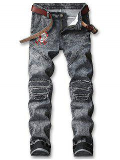 Skull Embroidery Knee Pleated Faded Jeans - Dark Slate Grey 38