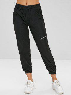 Letter Embroidered Pocket Jogger Pants - Black