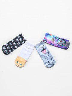 4 Pairs Cute Animal Print Cotton Socks - Multi-a