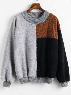 Color Block Teddy Fleece Sweatshirt - Multi