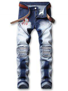 Skull Embroidery Knee Pleated Faded Jeans - Denim Dark Blue 38
