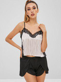 Striped Lace Insert Pajama Set - Black L
