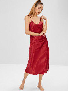 Robe Pyjama à Bretelle En Satin - Rouge 2xl