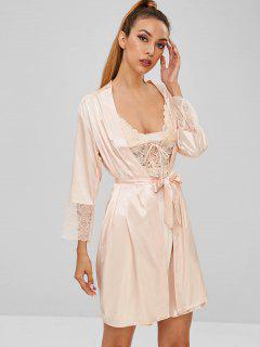 Slip Lace Panel Robe Pajamas - Champagne L