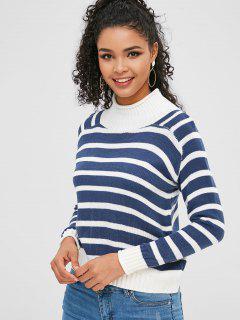 Gestreifter Sweater Mit Hohem Halsausschnitt - Seiden Blau